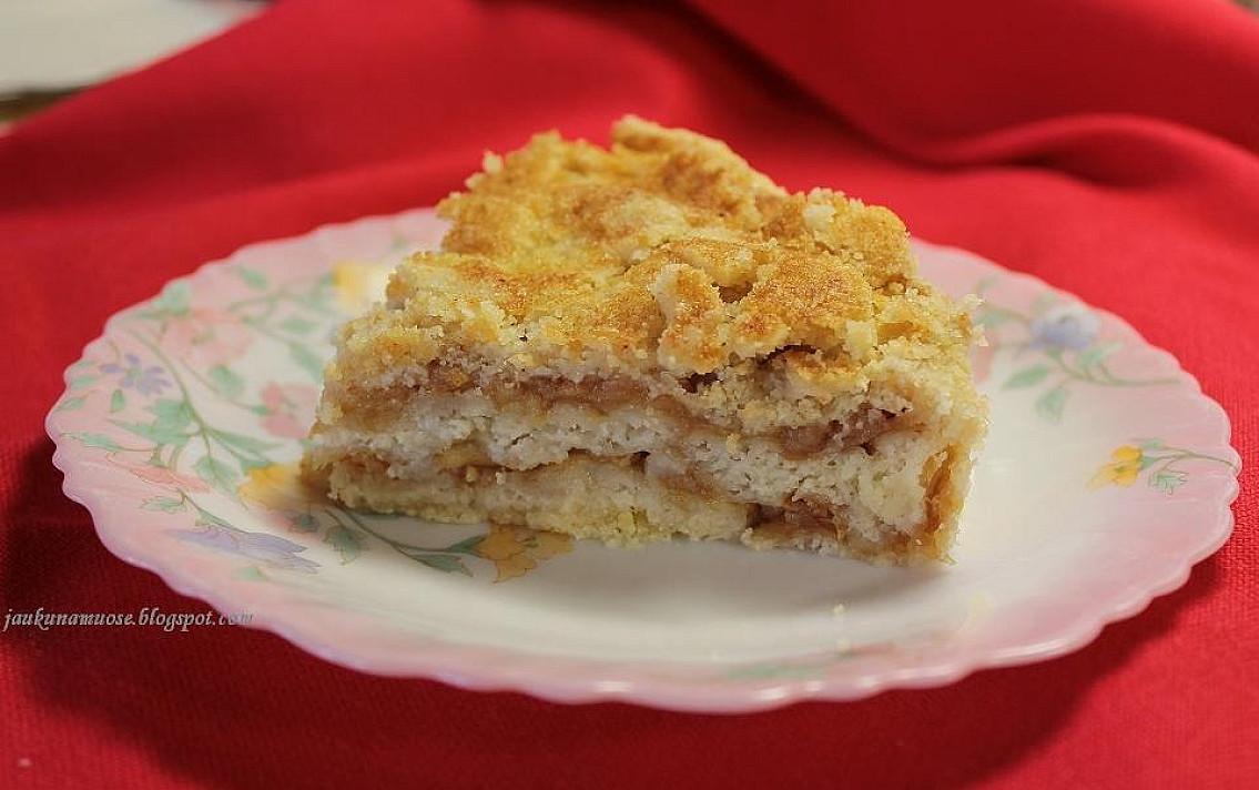 Lengvai ir greitai pagaminamas obuolių pyragas su manais be kiaušinių