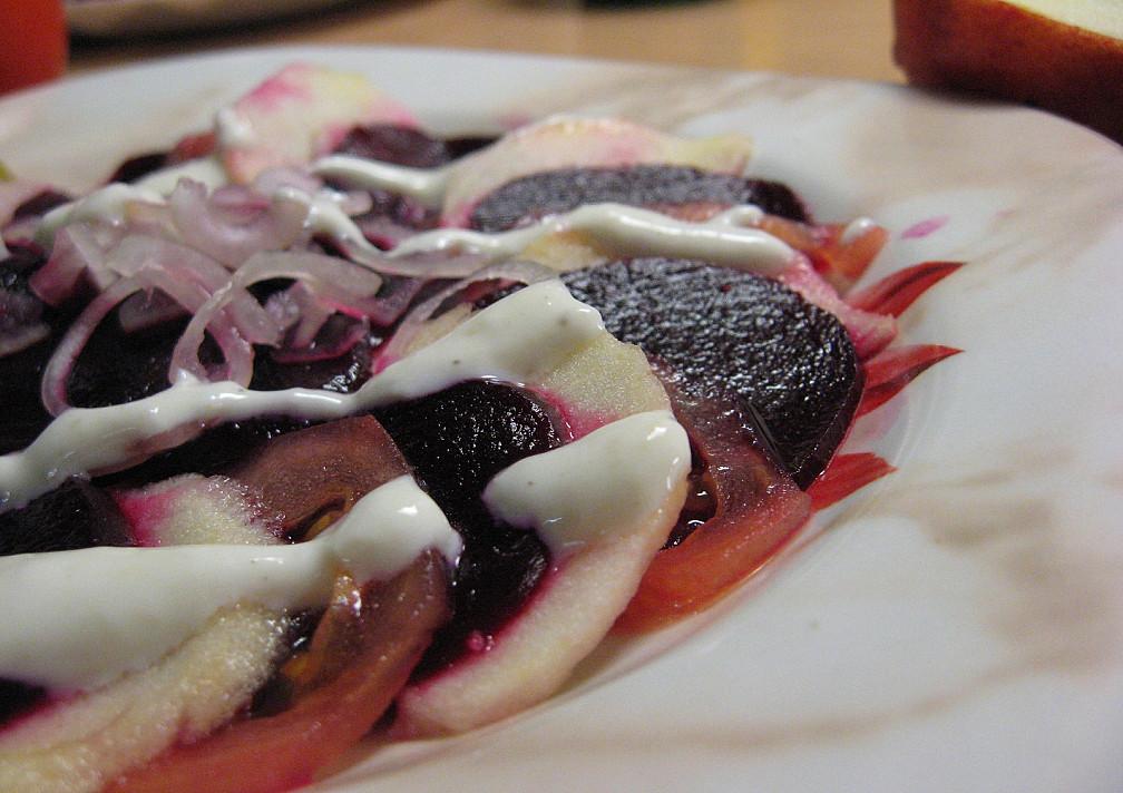 Vegetariškas Carpaccio (karpačio) be mėsos ir su burokėliais