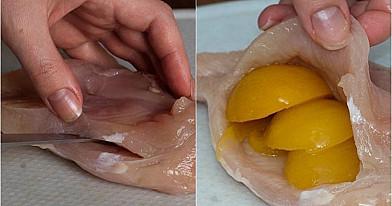 Skanios vištų krūtinėlės su konservuotais persikais