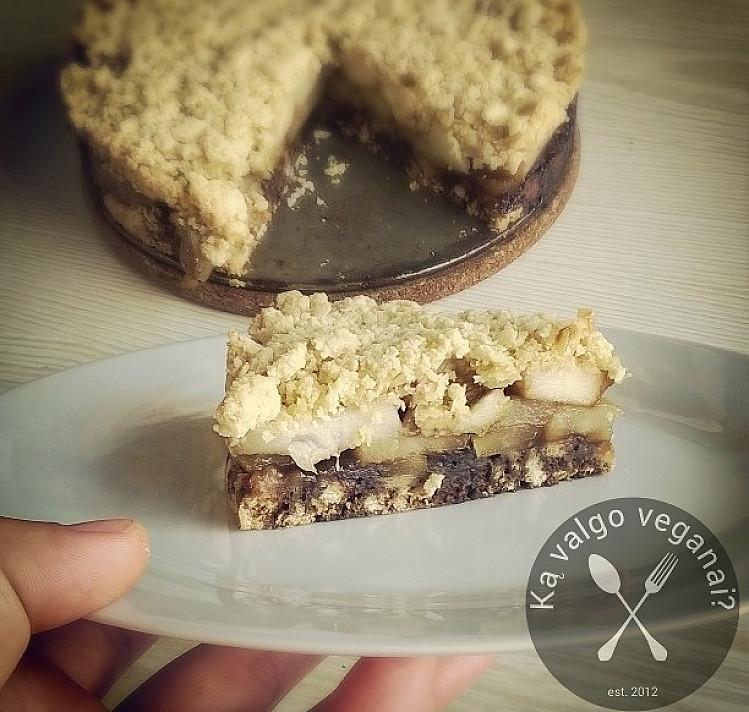 Веганский рассыпчатый пирог с грушами и с кэробом. Вкусный и невероятно прост в приготовлении!