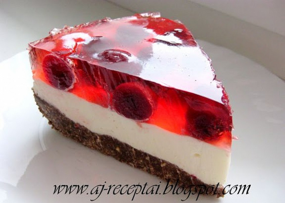 Вишнёвый торт с сыром и желе (Не запечённый ).