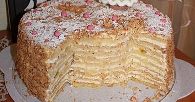 Торт со сметанным кремом, ананасами и киви от рамуне