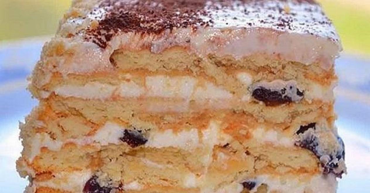 Nekeptas tortas iš sausainių, varškės ir džiovintų slyvų - tiesiog tobulas!