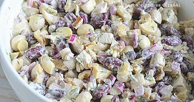 Королевский ароматизированный салат с фасолью, грибами и курицей