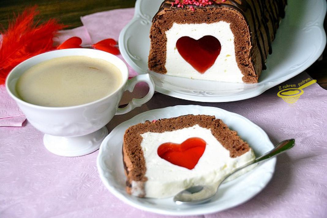 """Ciasto miłości """"Walentynka"""" - z galaretką i śmietanką"""