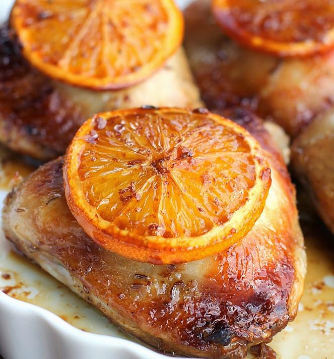 Vištienos kumpeliai su apelsinais