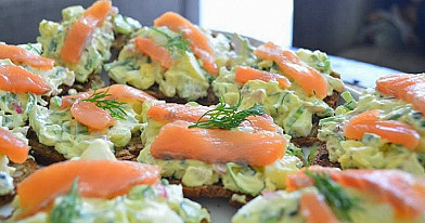 Sandwiches with Salmon, Eggs, and Radishes