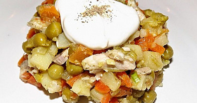 Almost Traditional Lithuanian White Salad with Boiled Meat