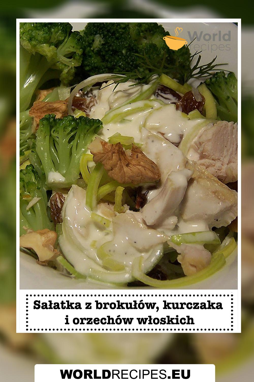 Sałatka z brokułów, kurczaka i orzechów włoskich