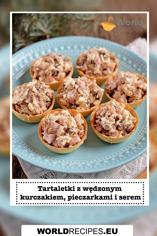 Tartaletki z wędzonym kurczakiem, pieczarkami i serem