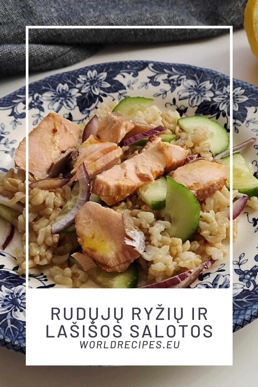 Rudųjų ryžių ir lašišos salotos