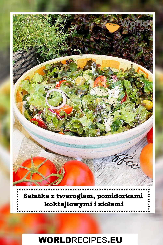 Sałatka z twarogiem, pomidorkami koktajlowymi i ziołami