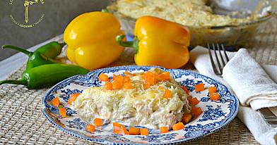 Vištienos, pievagrybių ir bulvių apkepas