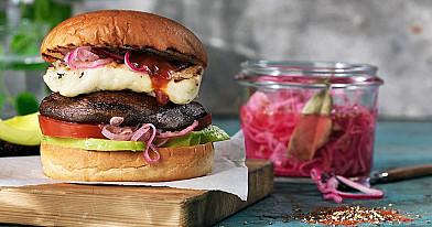 Vegetariškas suvožtinis su Portobello grybais ir halumi sūriu