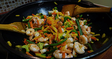 """Greitai paruošiamas daržovių """"plovas"""" su krevetėmis ARBA prie visko tinkantis garnyras"""