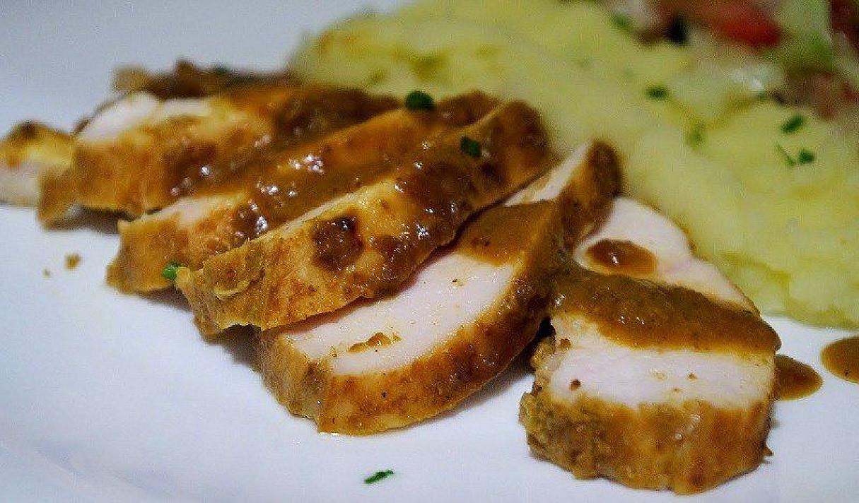 Hähnchenbrust mit Honig, Senf und Curry