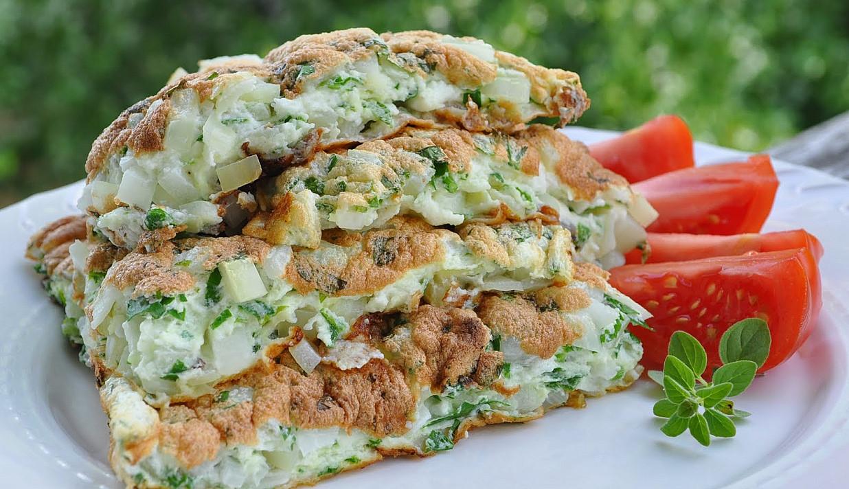 Vegetariškas baltyminis omletas be kiaušinių trynių