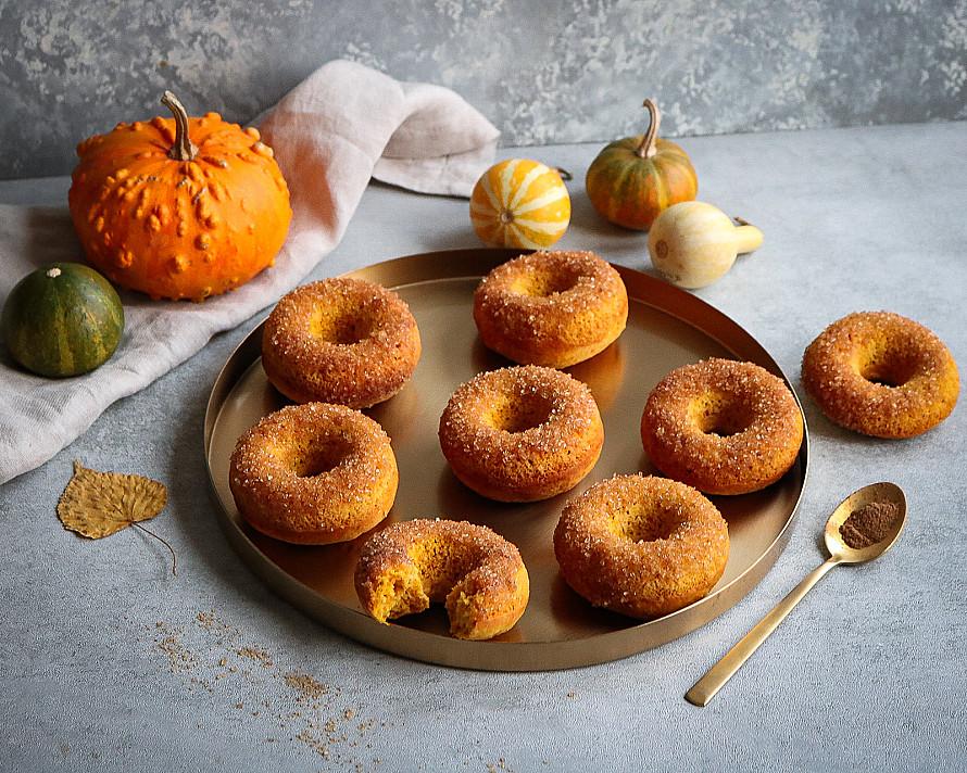 Тыквенные пончики, запеченные в духовке (без глютена) - американские пончики (Donuts)