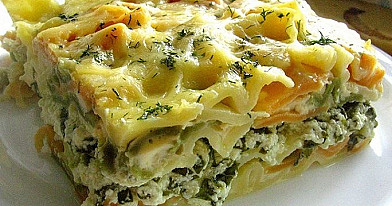 Pasta Pudding with Curd and Spinach