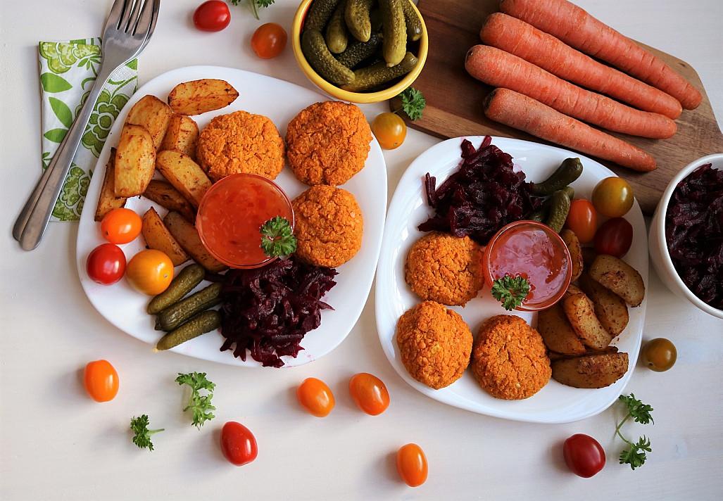 Веганские / вегетарианские котлеты из красной чечевицы и моркови (запеченные в духовке)