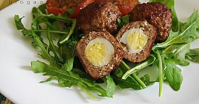 Škotiški kiaušiniai su putpelių kiaušiniais