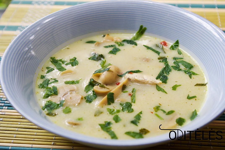 Суп быстрого приготовления с курицей, кокосовым молоком и консервированными грибами