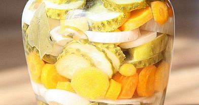 Marinated cucumbers, carrots, and onions