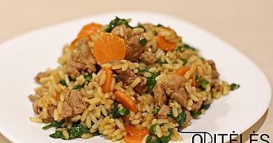 Keptuvėje kepta antiena arba vištiena su ryžiais ir špinatais