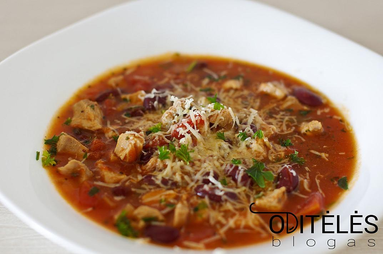 Суп из консервированных помидоров и индейки с фасолью и сыром
