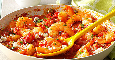 Krevetės su feta ir pomidorais