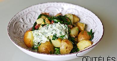 Šviežių bulvių salotos su antiena ir graikišku - tzatziki padažu