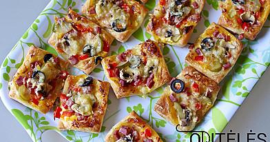 Мини пицца с овощами и уткой или курицей