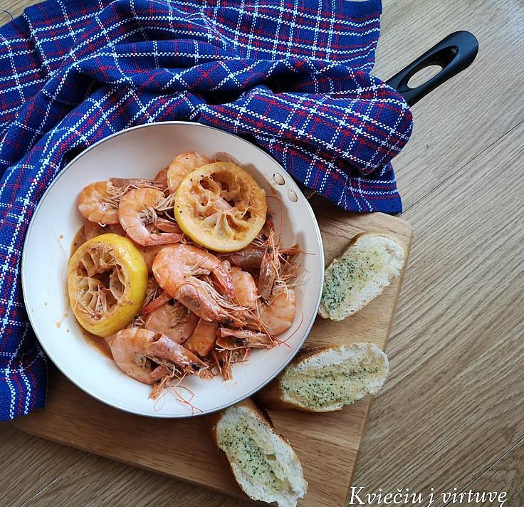 Keptos krevetės grietinėlės padaže su citrina
