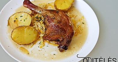 Orkaitėje keptos antienos arba vištienos kulšelės su bulvėmis