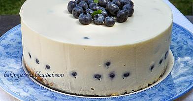 Торт на день рождения девочке - йогуртовый черничный торт