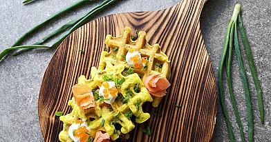 Вафли - блины со шпинатом и сыром фета