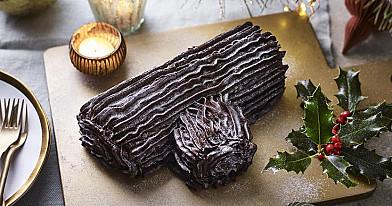 Šokoladinis vyniotinis Kalėdoms: Riešutinė - karamelinė šaka (Bûche de Noël, Yule log arba Christmas log)